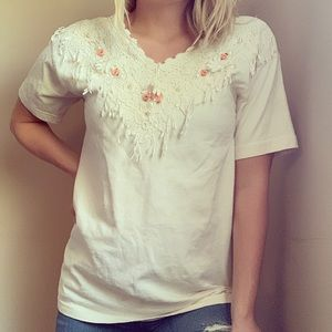 Vintage lace and pearl short sleeve v neck tee